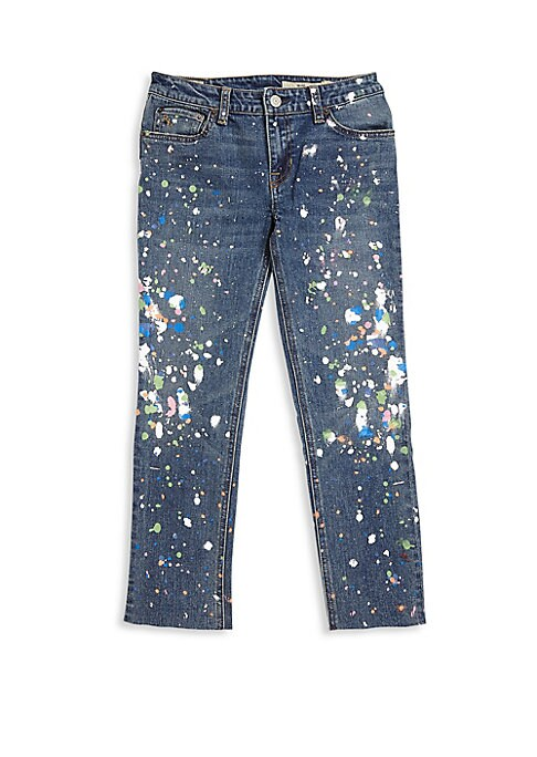 "Image of Allover fading and distressing gives this skinny jean a cool worn-in look. Plus, a hint of stretch ensures a comfortable fit, making it a pair she will reach for again and again. Belt loops. Zip fly with signature shank closure. Five-pocket style. Back ""P"