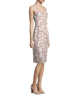 HVN Lily Silk Slip Dress in Red Pink String Of Hearts