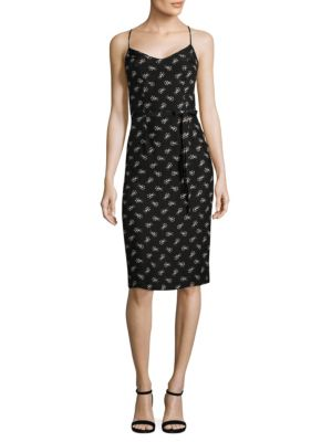 HVN Lily Silk Slip Dress in Black