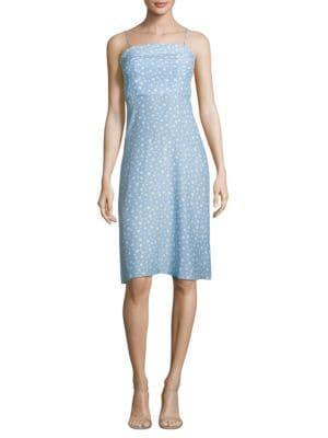 HVN Nora Star-Print Silk Dress in Pale Blue