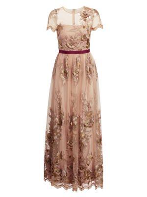 Ml Monique Lhuillier Floral Applique Gown