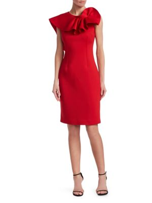 NERO BY JATIN VARMA Ruffle Sheath Dress in Red