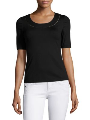 Ajour Stretch-Cotton Tee by Lafayette 148 New York