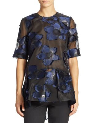 Short Sleeve Flounce Top by Lela Rose