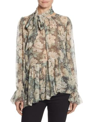 Bowerbird Tie-Neck Floral-Print Silk Blouse by Zimmermann