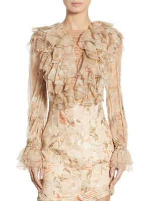 Bowerbird Ruffled Lace-Up Silk Bell Sleeve Blouse by Zimmermann