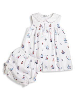 Babys TwoPiece Seven Seas Cotton Printed Dress  Diaper Cover