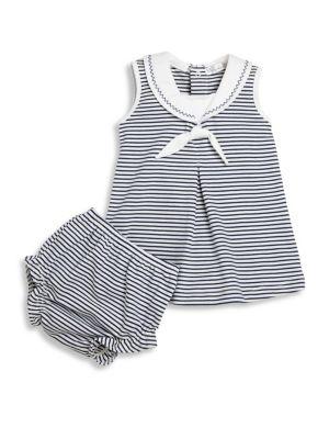 Babys Seven Seas TwoPiece Cotton Stripe Dress  Diaper Cover Set
