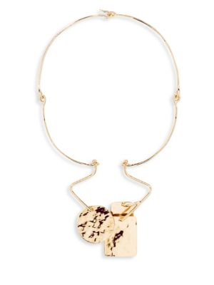 "Image of From the Bird Garden Collection. Sculptural wire necklace with hammered geometric charms.18k yellow goldplated brass. Length, 18"".Hook clasp. Made in France."