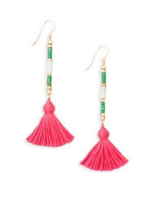 "Image of Beaded linear drop earring finished with vibrant tassel. Green jasper. Cotton.18K goldplated brass. Drop, 2"".Ear wire. Made in France."
