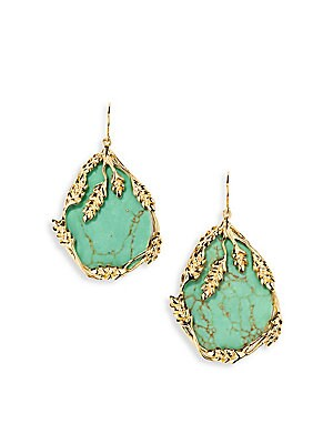 """Image of From the Françoise Collection. Luxe turquoise drop earring encircled by wheat cobs. Turquouise 18K goldplated Shepherd's hook closure Made in France SIZE Width, about 1.5"""" Drop, about 2.20"""". Fashion Jewelry - Modern Jewelry Designers > Saks Fifth Avenue."""