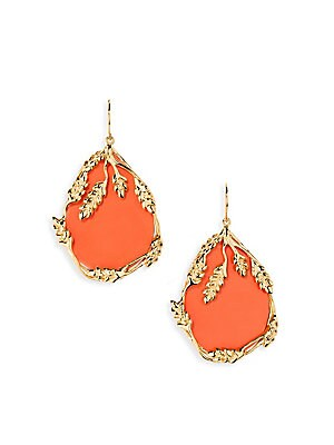 Image of Aurélie Bidermann Françoise Coral Drop Earrings - Coral. For sale at Saks Fifth Avenue department store.