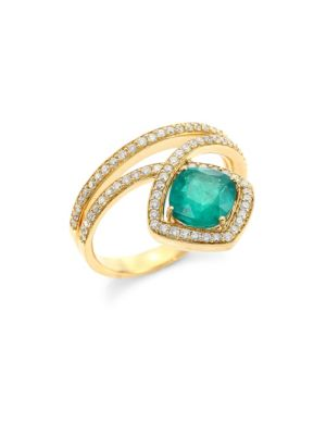 Hueb Spectrum Diamond & Green Emerald Ring
