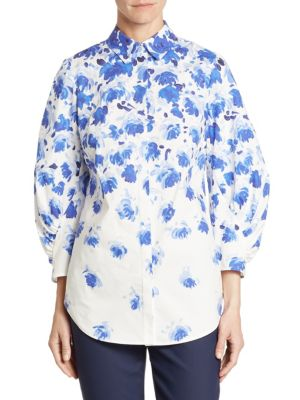 Cotton Floral-Print Shirt by Lela Rose
