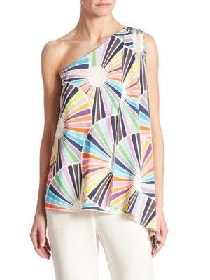 Ezmeralda One-Shoulder Silk Top by Trina Turk