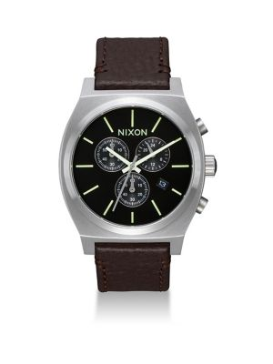 Nixon Time Teller Chronograph Leather Strap Watch
