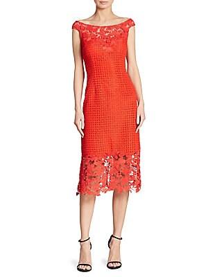 11f443020300b Kay Unger - Floral Lace Sheath Dress - saks.com