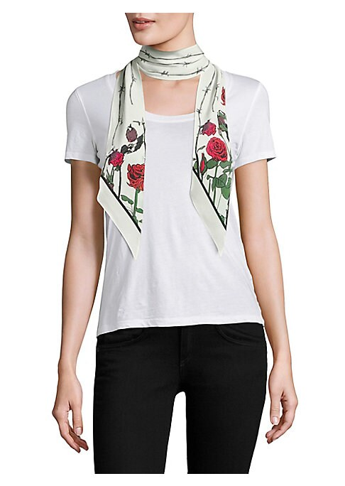 "Image of Skinny bias-cut silk scarf with painterly rose motif.3""W x 55""L.Silk. Dry clean. Imported."