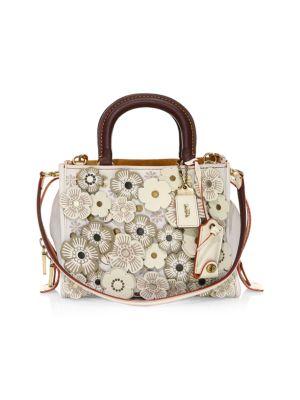 Rose Applique Pebble Leather Shoulder Bag in Neutrals