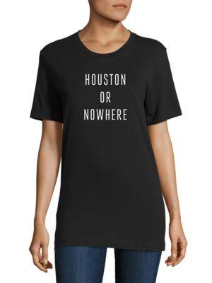 KNOWLITA Houston Or Nowhere Cotton Graphic Tee in Black White