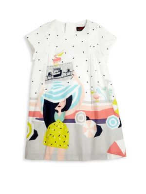Toddlers  Little Girls On The Beach Percale Dress