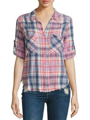 Frayed Hem Plaid Shirt by Bella Dahl