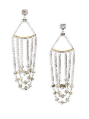 COOMI SILVER Spring Labradorite, Diamond & Sterling Silver Chandelier Earrings