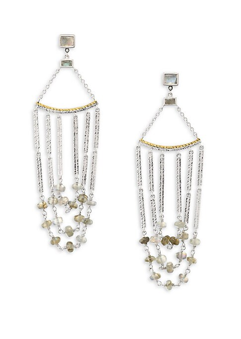 """Image of From the Spring Labradorite Collection. Elegantly draped chandelier strung with labradorite. Diamonds, 0.03 tcw. Labradorite. Sterling silver and 20K yellow gold. Drop, 3"""".Post back. Imported."""