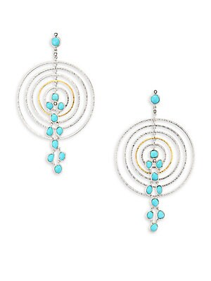 "Image of From the Spring Turquoise Collection Concentric drop earring inset with cascading turquoise Diamonds, 0.07 tcw Turquoise Sterling silver and 20K yellow gold Drop, 3"" Post back Imported. Fine Jewelry - Fine Designer Jewelry. Coomi Silver. Color: Turquoise"