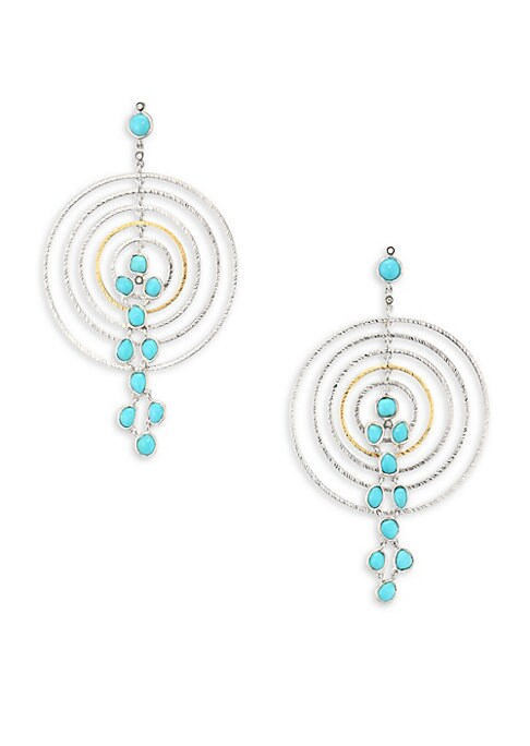 """Image of From the Spring Turquoise Collection. Concentric drop earring inset with cascading turquoise. Diamonds, 0.07 tcw. Turquoise. Sterling silver and 20K yellow gold. Drop, 3"""".Post back. Imported."""