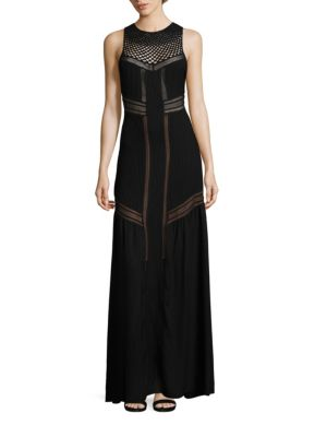 """Image of Slim silk maxi dress with peek-a-boo sheer insets. Crewneck. Sleeveless. Openwork crochet yoke. Rib-knit bodice. Banded waist. Shirred skirt. Concealed back zip. Silk lining. About 62"""" from shoulder to hem. Silk. Dry clean. Imported. Model shown is 5'10"""""""