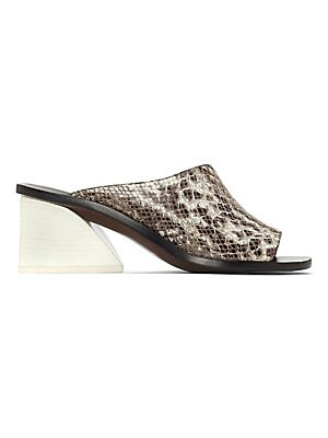 """Image of Unorthodox mid slides with attractive embossment Stacked heel, 2""""(60mm) Nappa leather upper Open toe Slide-on style Leather lining and sole Made in Brazil. Women's Shoes - Contemporary Womens Shoe. Mercedes Castillo. Color: Teak. Size: 5.5."""