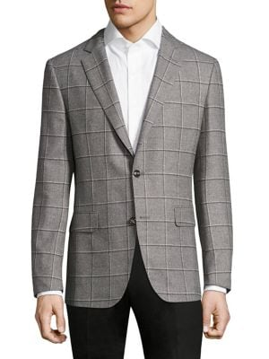Image of Plush silk blend coat in window pane design. Regular-fit. Notched lapels. Front two-button closure. Long sleeves with buttoned cuffs. Wool/silk. Dry clean. Made in Italy.