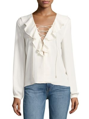 Ruffled Lace-Up Blouse by L'acadamie