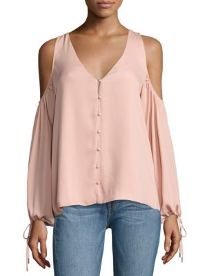 V-Neck Cold Shoulder Blouse by L'acadamie