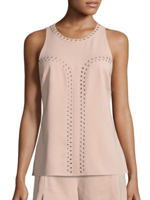 Tia Stretch Crepe Grommet Top by Ramy Brook