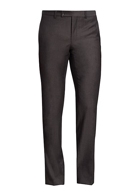 "Image of EXCLUSIVELY OURS. From the Modern Collection. Regular plush flat-front pants with subtle lines. Belt loops. Zip-fly with button-tab closure. Slash pockets. Back buttoned welt pockets. Inseam, about 34"".Wool. Dry clean. Made in Canada."