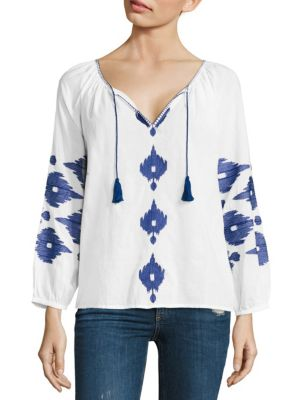 Santorini Embroidered Cotton Top by Christophe Sauvat