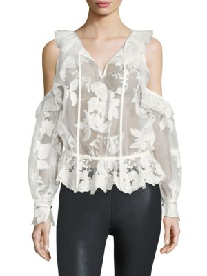 Icelandic Cold-Shoulder Lace Top by THREE FLOOR