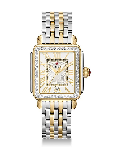 """Image of From the Deco Collection. Two-tone diamond bezel with elegant 7-link bracelet. Quartz movement. Water resistant to 5 ATM. Square polished two-tone stainless steel case, 33mm x 35mm (1.25"""" x 1.4"""").Red cabochon crown. Two-tone diamond bezel, 0.71 tcw. Sapph"""