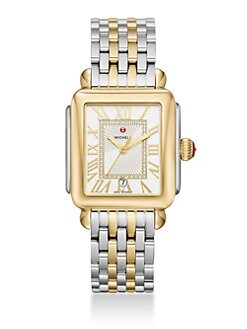 085cbaa5bf818 Michele Watches. Deco Madison Diamond   Two-Tone Stainless Steel Bracelet  Watch