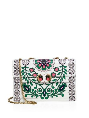 79ae95fad96 Tory Burch Gemini Link Printed Leather Chain Shoulder Bag In Garden Party  Green