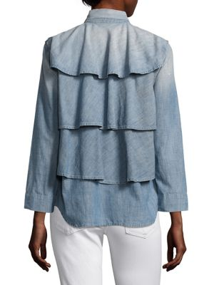 """Image of Ruffle back lends flirty twist to this soft jacket. Spread collar. Front button closure. Shoulder epaulettes. Bracelet sleeves. Front flap pockets. Hi-lo hem. Ruffle back detail. About 20"""" from shoulder to hem. Cotton. Machine wash. Made in USA. Model sho"""
