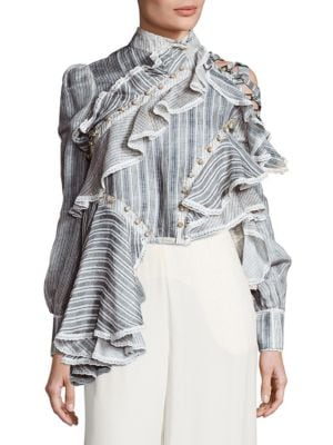 Cavalier Antique Striped Silk & Lenin Shirt by Zimmermann