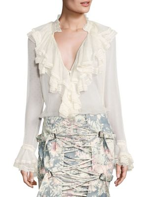 Cavalier Ruffle Silk Blouse by Zimmermann