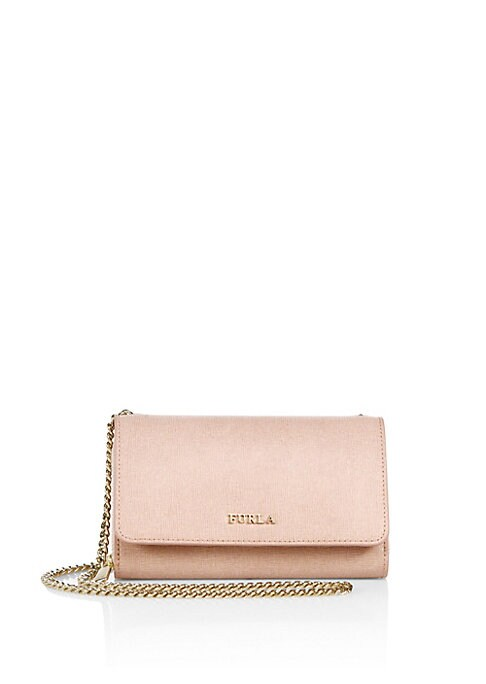 """Image of Supple leather construction elevates this crossbody bag. Chain crossbody strap, 22"""" drop. Snap-flap closure. Goldtone hardware. Inside cellphone pocket. One inside zip change pocket. Four inside credit card slots. One outside open back pocket. Lined.7"""" W"""
