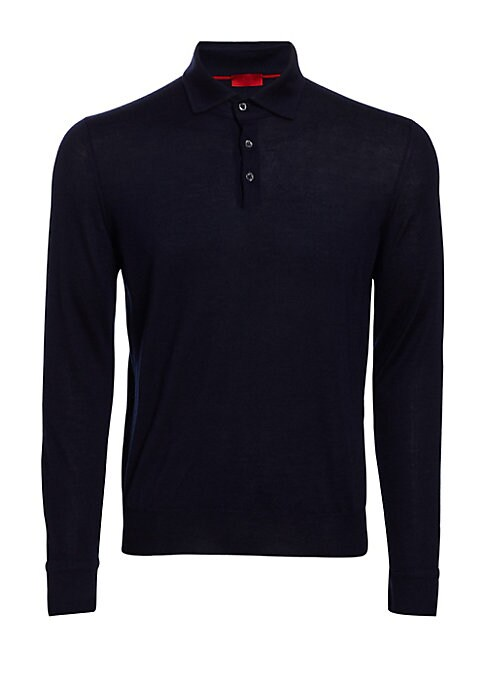 Image of Solid polo featuring knit construction for style. Polo collar. Front button placket. Long sleeves. Cotton. Dry clean. Made in Italy.