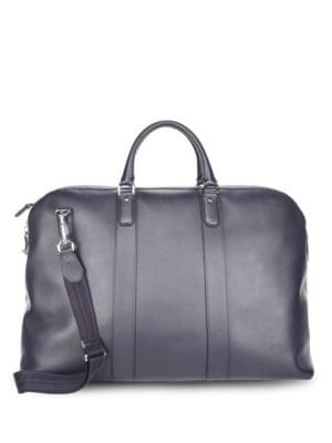 DUNHILL Hampstead Leather Travel Bag in Navy