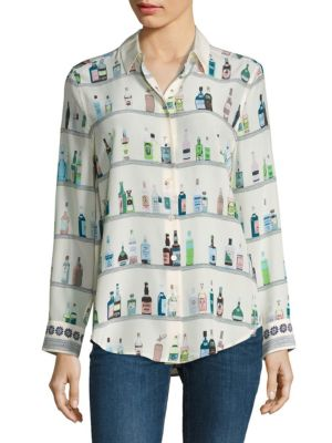 Essential Bottle Printed Silk Shirt by Equipment