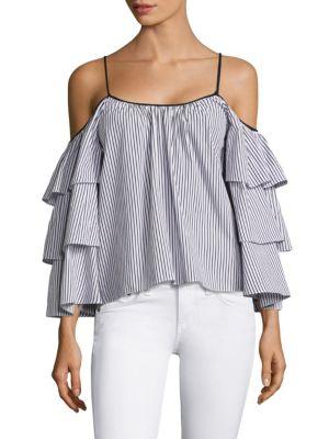 Striped Marielle Cold Shoulder Blouse by Parker